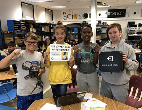 students with breakout boxes