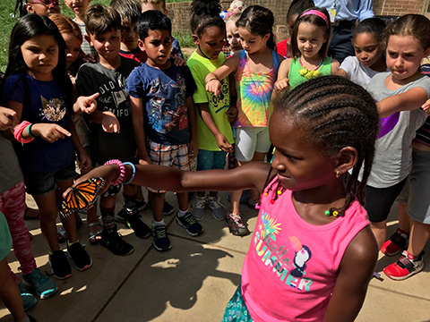 students with monarch butterflies