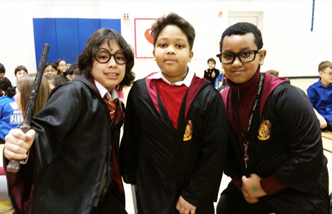 students dressed as Harry Potter