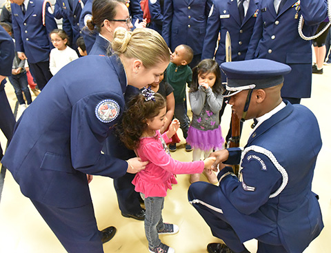 JROTC students with Head Start students