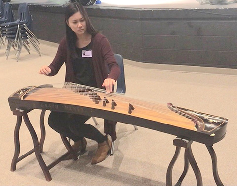 playing the zither