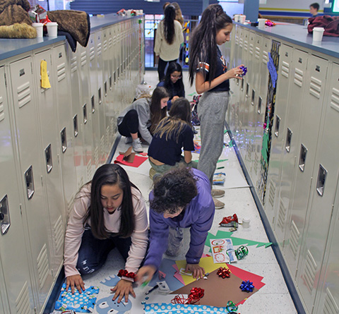 students making decorations