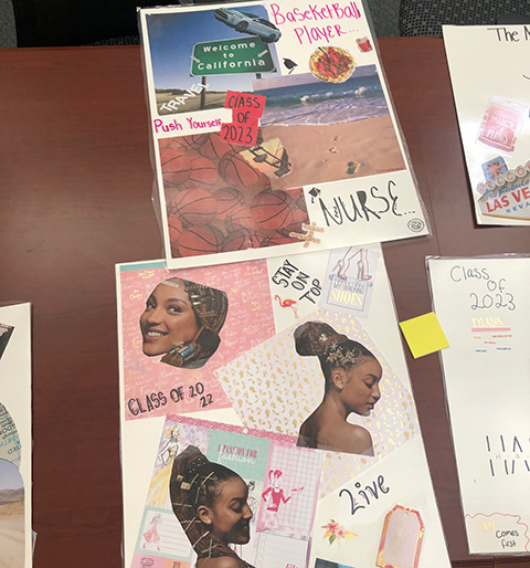 Examples of vision boards created by DIAMONDS members.