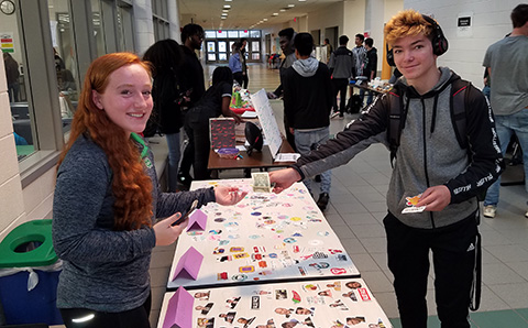 students at market day