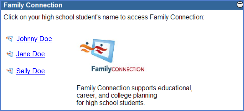 Family connection application student list screen shot