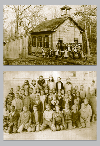 Top:Photo of one room school house. Below: Photo of African american classmates.