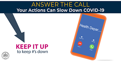 Answer the call.  Your actions can slow the spread of COVID-19.
