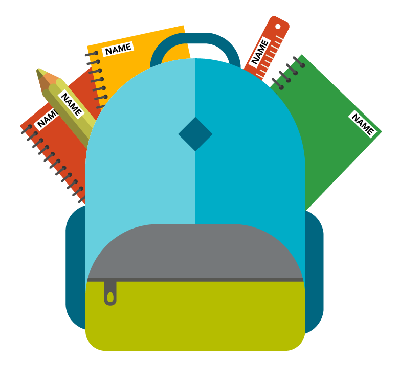 graphic of labeled school supplies inside a backpack