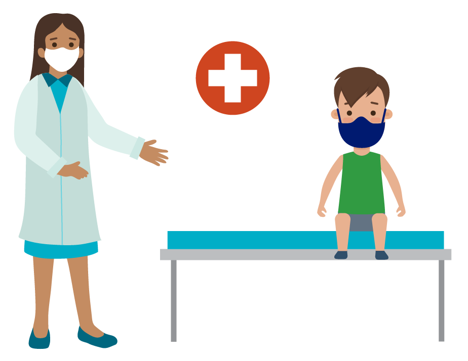 illustration of sick child sitting on clinic table with a staff member.