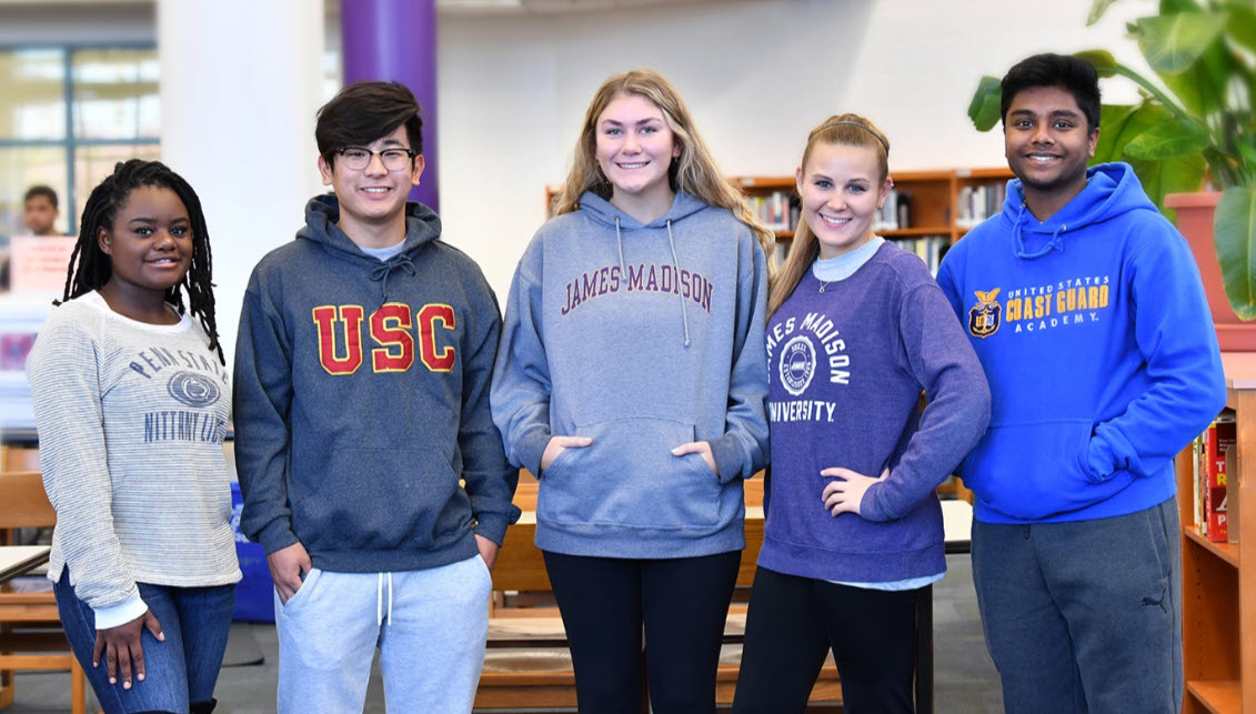 Chantilly Academy students wearing college hoodies.