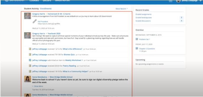 Schoology Screenshot of the student feed