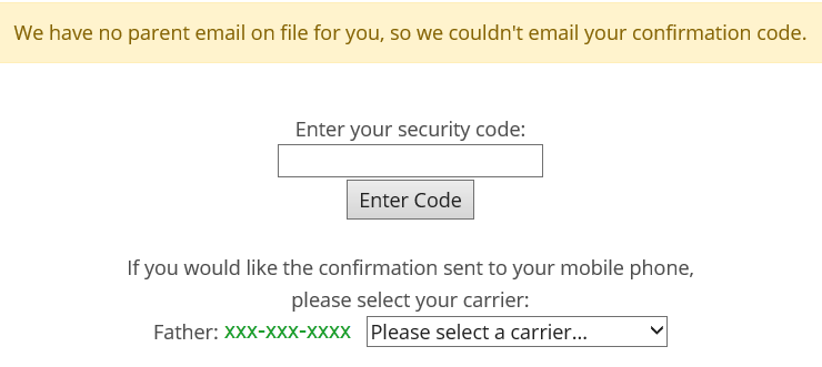 Screenshot of web page asking you to pick your cell phone carrier (e.g., T-Mobile) so you can get the security code in a text message.