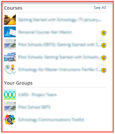 screenshot of courses and groups from the profile page in Schoology