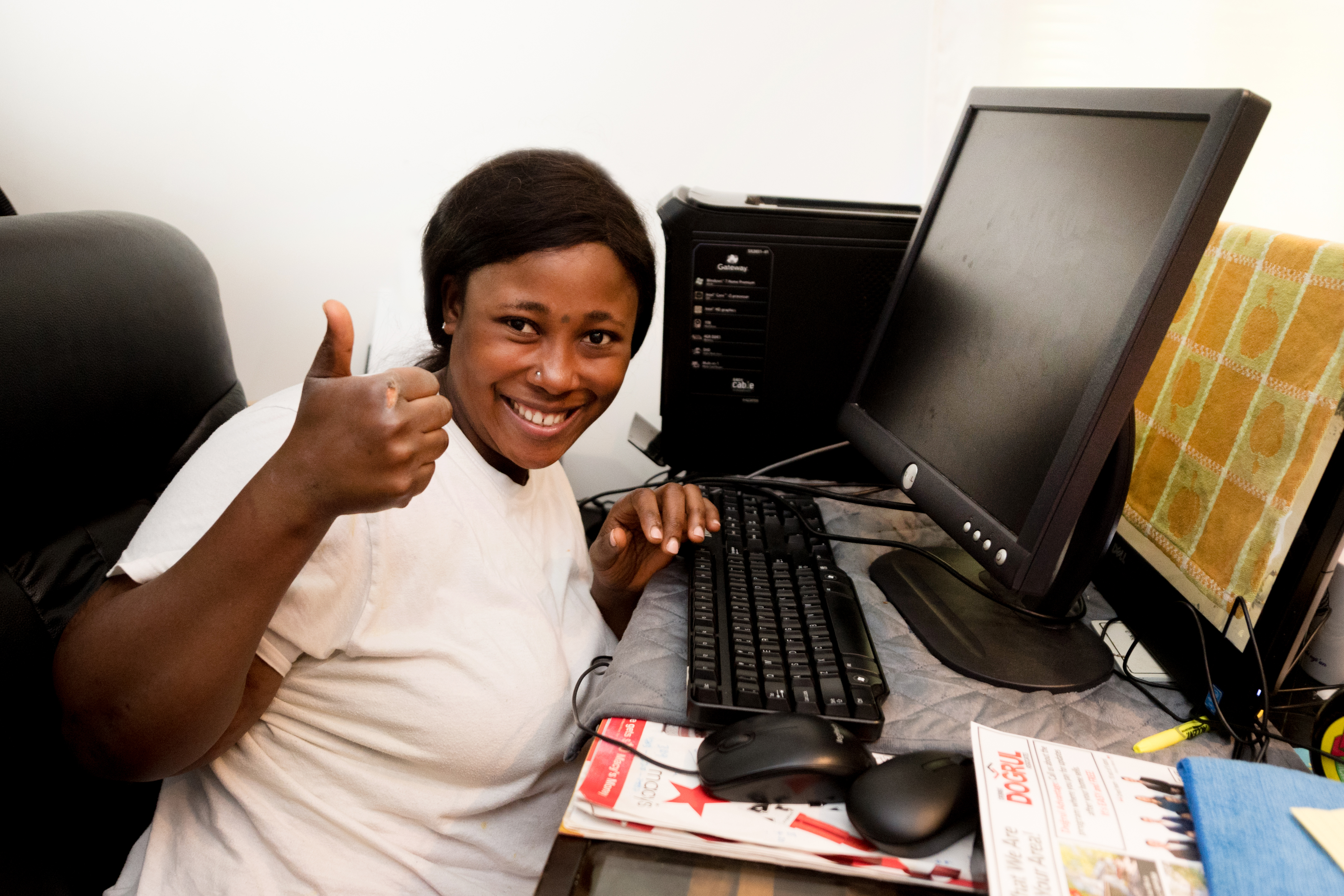 Annandale High grad Fatima Kamara, who plans to study nursing at Northern Virginia Community College's honors program in the fall, gets to keep the desktop she built for use in college.