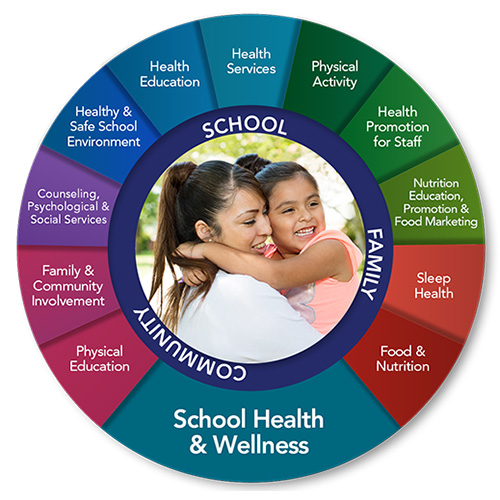 School Health Wellness Wheel: Click for information on FCPS School Health and Wellness Resources. Includes the following categories: Physical Education; Family & Community Involvement; Counseling, Psychological & Social Services; Healthy & Safe School Environment; Health Education; Health Services; Physical Activity; Health Promotion for Staff; Nutrition Education, Promotion & Food Marketing; Nutrition Guidelines; Sleep Health; and Food & Nutrition.