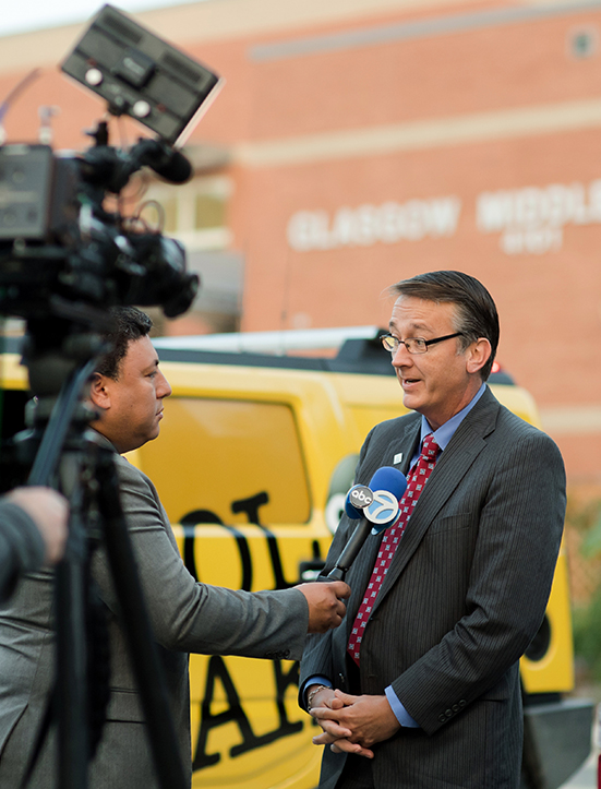 Dr. Scott Brabrand, superintendent of Fairfax County Public Schools, speaks to a reporter on the first day of school.