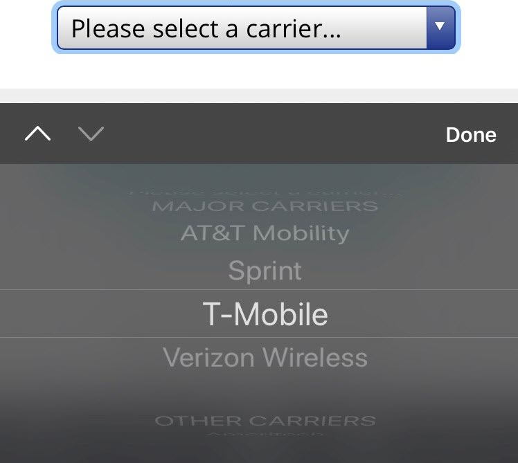 Screenshot of the list of cell phone providers on a cell phone