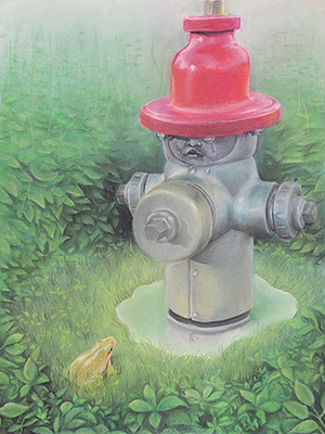 student artwork of fire hydrant with frog