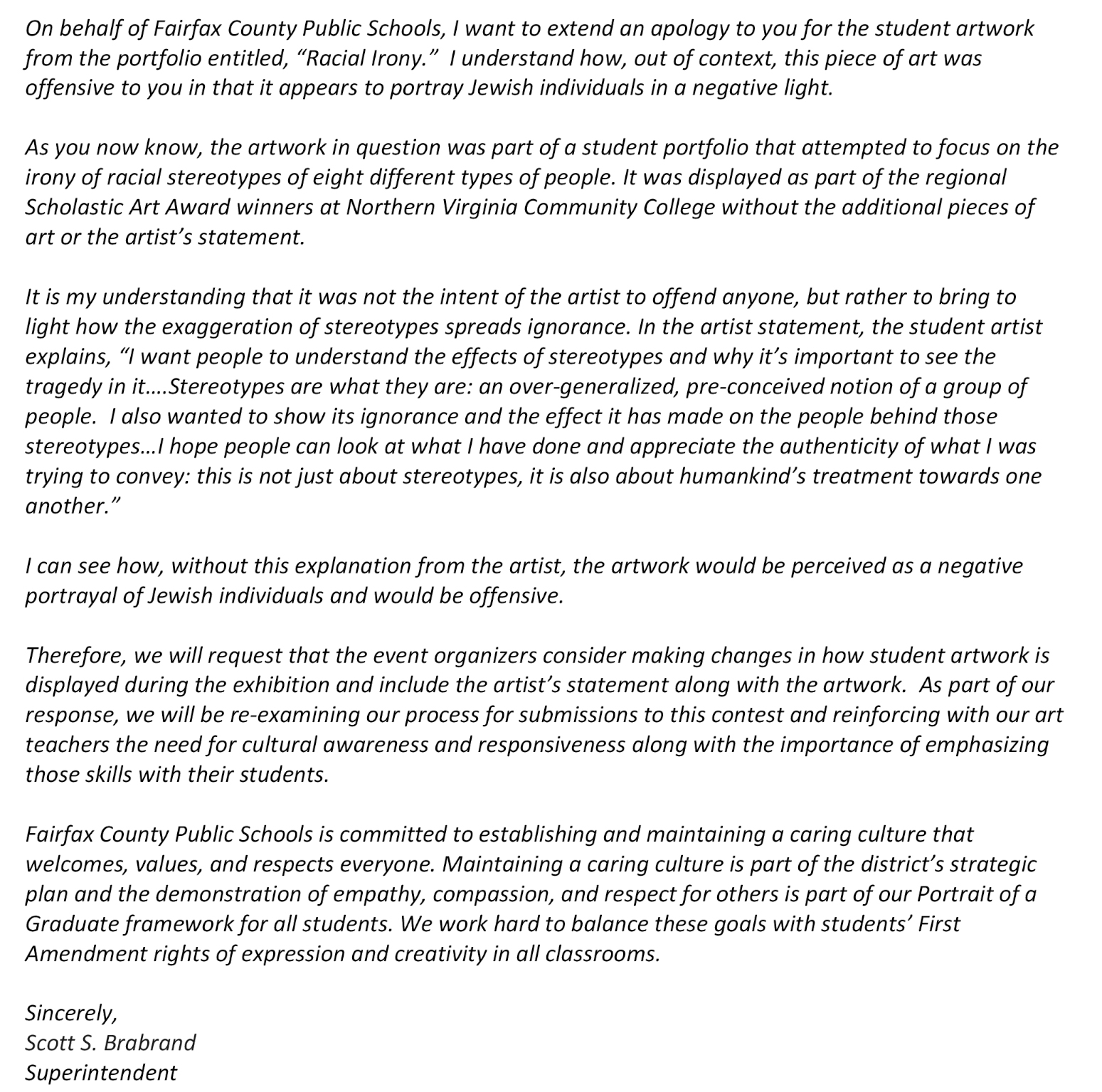 Dr. Brabrand letter on Scholastic Art Awards