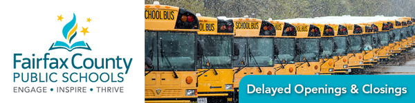 photo of a line of school buses in winter weather with text that says Delayed Openings and Closures and the Fairfax County Public Schools logo
