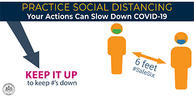 Practice social distancing.  Your actions can slow the spread of COVID-19.