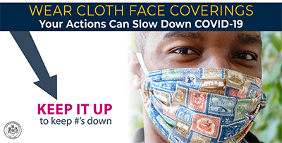 "Person wearing mask with text that says ""Wear cloth face coverings your actions can slow COVID-19"". Keep it up to keep numbers down."
