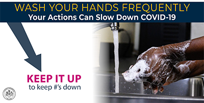 Wash your hands frequently.  Your actions can slow down COVID-19.