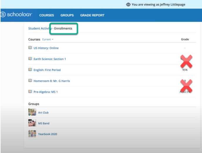 Schoology Screenshot of Student Courses