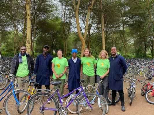 The group bought used bikes to donate to teachers and students in Tanzania.