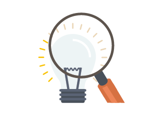 icon of a magnifying lens over a lightbulb