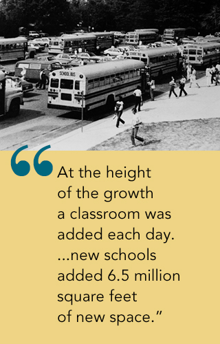 Photo of many schoolbuses and quote