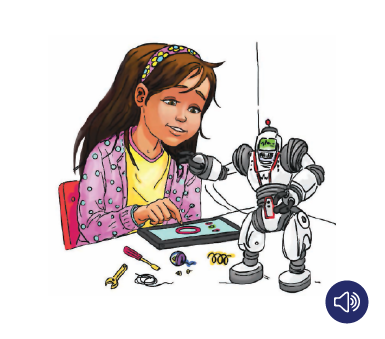 Illustration of girl with a robot