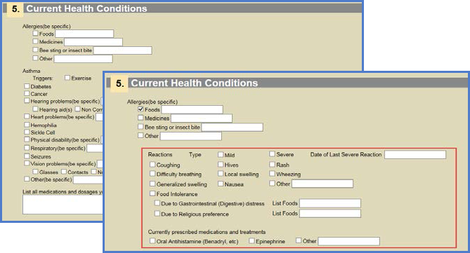 Current Health Conditions Screen Shot