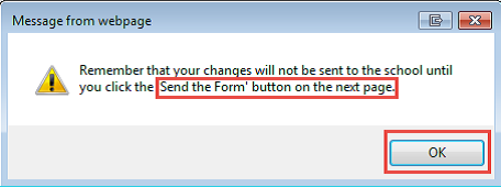 Reminder to send the form pop-up screen shot