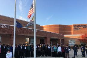 Attendees of flag raising ceremony