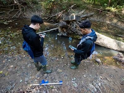 Using equipment to test the stream at Hidden Oaks.