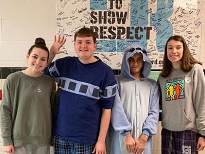 Madison High students show their support for Best Buddies week by wearing blue.