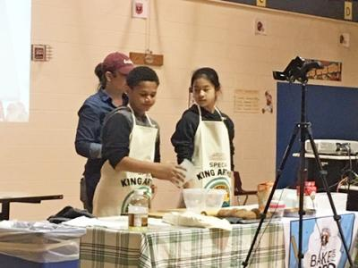 McNair Elementary students participated in the King Arthur Flour Bake for Good program; they learned to bake bread for their families and to donate to LINK pantry.